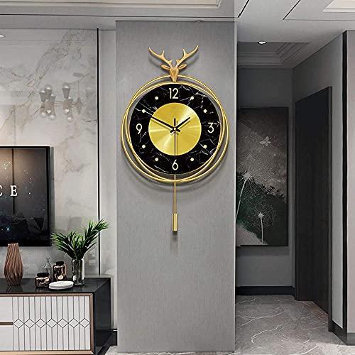 Personalidad Mute Reloj de pared grande moderno sala de estar creativo moda simple reloj de pared para sala de estar cocina-35 × 57 cm
