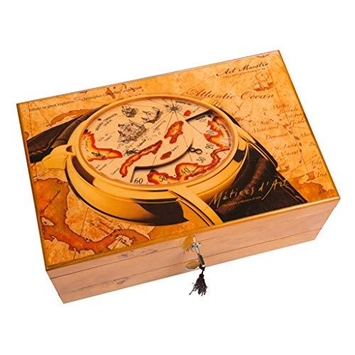 L.TSA Uhren-Organizer Schmuck- und Uhrenaufbewahrungsbox mit Manschettenknopf-Box und Schublade, Holz-Uhren-Koffer, Armband-Tablett mit herausnehmbaren weichen Kissen, tolle Geschenkidee