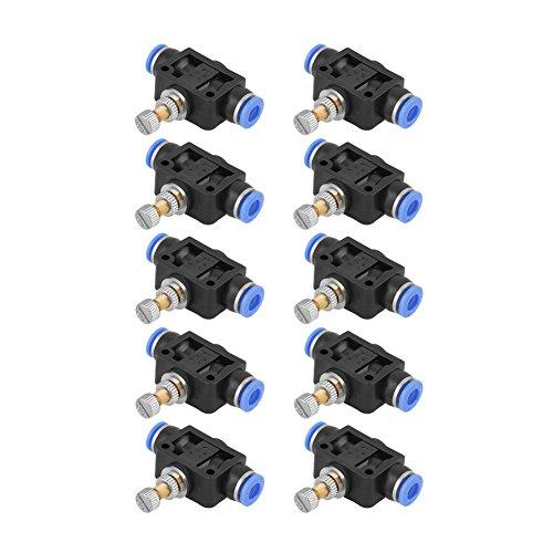 10pcs Schnellkupplung Rohr Drosselklappe Push In Drehzahlregler Pneumatische Luftstromregelventil 6mm