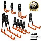 ORASANT 10-Pack Steel Garage Storage Utility Double Hooks, Heavy Duty for Organizing Power Tools, Ladders, Bulk Items, Bikes, Ropes etc. (Orange)