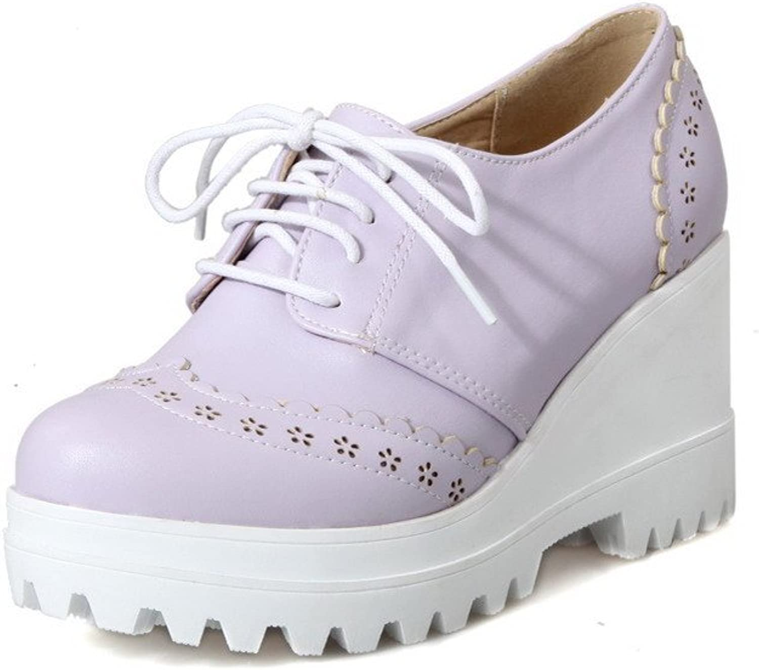 WeiPoot Women's Round Closed Toe Lace-up PU Solid High-Heels Pumps-shoes