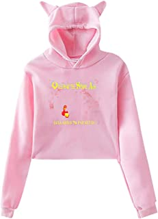 Woman's Queens of The Stone Age Adorable Music Band Long Sleeves Cat Ear Hoodie Crop Sweater Style Hoody Gift