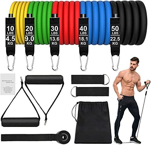 Bandas de Resistencia Crossfit 150 lbs 12 Piezas Bandas Elásticas Musculación con 5 Diferentes Niveles Gomas Elasticas musculacion para Gimnasio en Casa Yoga ⭐
