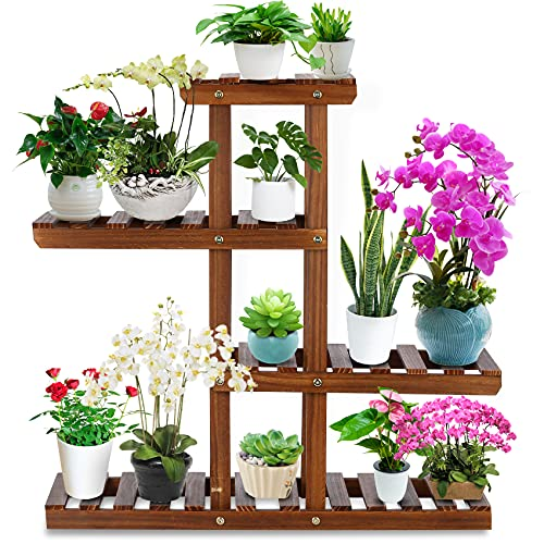 Plant Stand - JORAIR Flower Stand, Indoor Plants with 3 Tier Stand, Flower Stand for Patio Garden Balcony Indoor Outdoor with 6 Free Gardening Tools, (8-10 Flowerpots)