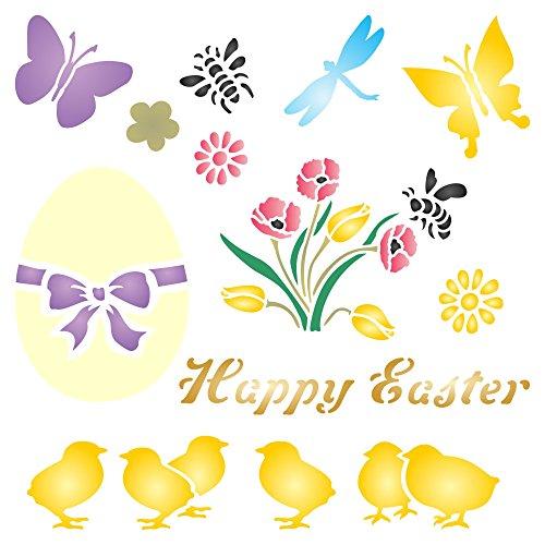 Osterküken Schablone – 16,5 x 16,5 cm – wiederverwendbare Küken Eier Blumen Happy Ostern Wandschablone – Verwendung auf Papierprojekten, Scrapbooks, Wänden, Böden, Stoff, Möbel, Glas, Holz usw.