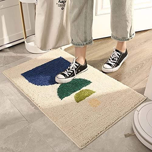 HYISHION Alfombra Baño Antideslizante, Alfombrilla Absorbente Microfibra Suave para Cocina/Baño/Dormitorio, Lavable a Máquina,Blanco,45×70cm