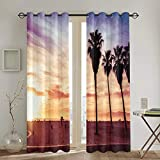 Cortinas Punch,Azul California Venice Beach Sunset Summer Orange Coast Landscape Sunrise Sun Bright Living Room Bedroom Window Drapes 2 Panel Set,104 WX 72 L Inches