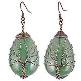 mookaitedecor Orecchini da donna con pietre di cristallo naturale per albero della vita, da appendere e Ramato, colore: Verde – avventurina verde., cod. JMPY0014704