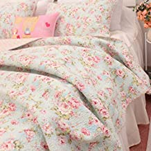 Kolachic 3 PCS Shabby Chic Country Cottage Floral Bedspread Quilt Coverlet Patchwork 100% Cotton Light Blue Queen Size
