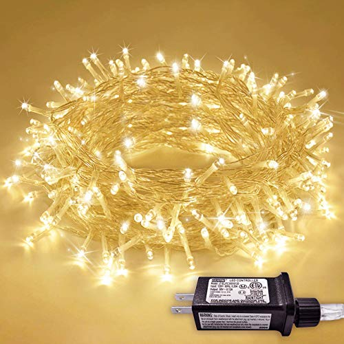JMEXSUSS 200 LED Christmas Lights Indoor Outdoor, Warm White Christmas Tree Lights Clear Wire, 66ft 8 Modes Waterproof Twinkle Fairy String Lights Plug in for Xmas Room Bedroom Wedding Party