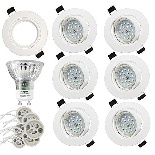 Foco Empotrable   LED Luz de Techo 5W Equivalente a Incandescente 60W   Blanco Cálido 2700K 600Lm AC220-240V   de techo de iluminación incluye bombilla LED para salón o dormitorio cocina etc 6 piezas