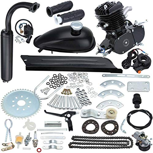 Sange 2 Stroke Pedal Cycle Petrol Gas Motor Conversion Kit Air Cooling Motorized Engine Kit for Motorized Bike (50cc Black)