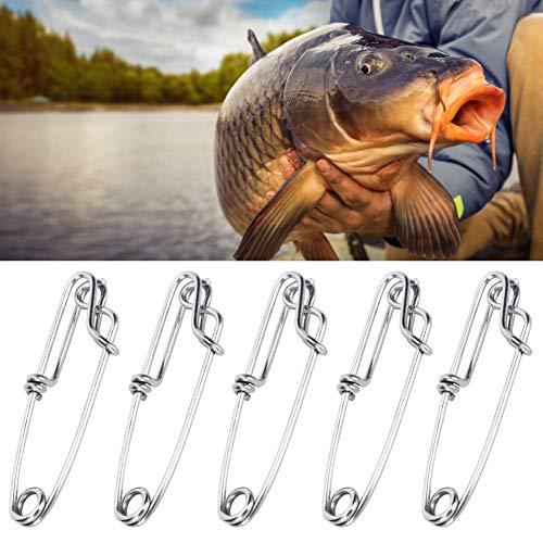 Keenso 15pcs Clips de atún de Acero Inoxidable, Perchas de Rama de Palangre Accesorio de Pesca rápida Fácil de encender/Apagar