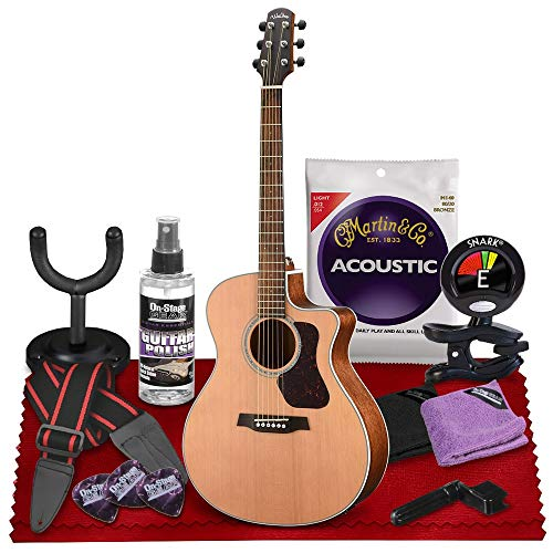 Walden G770CE Natura All-Solid Cedar-Mahogany Cutaway-Electric Guitar (Satin Natural) with Gig Bag, Strap, Strings, Tuner, and More Perfect for Musicians