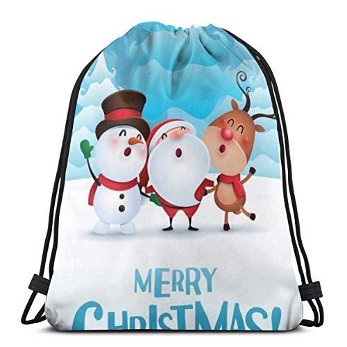 Lsjuee Classic Drawstring Bag, Snowman Santa and Elk Gym Mochila Bolsas de hombro Bolsa de almacenamiento deportiva para hombre mujer