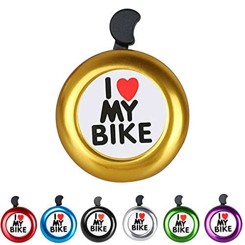 Bicycle Bell Aluminum Bike Bell Ring - ' I Like My Bike' Bike Horn of Mountain Bike Road Bike Exercise Bike Accessories for Adults Men Women Kids Girls Boys Bikes - Yellow