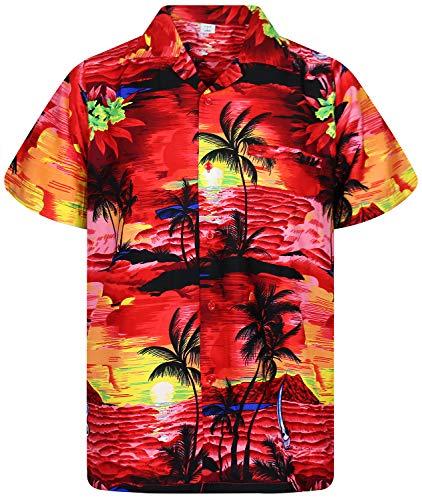Funky Hawaiihemd, Surf, Rot, 6XL