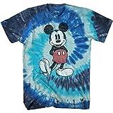 Disney Camiseta de manga corta para hombre de Mickey Mouse con aspecto desgastado - azul - Medium