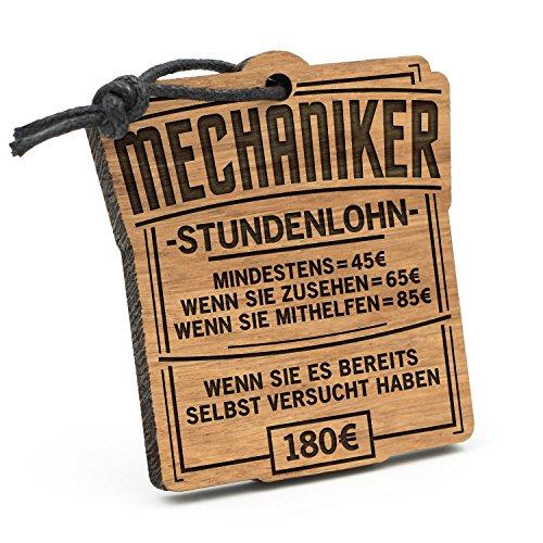 Fashionalarm Schlüsselanhänger Stundenlohn Mechaniker aus Holz mit Gravur | Lustige Geschenk Idee für Kfz Auto Schrauber Hobby Beruf Job Arbeit