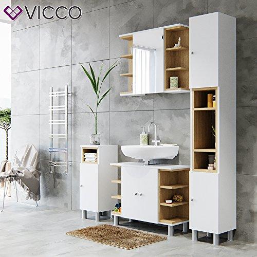 Vicco Badmöbel Set AQUIS Weiß Eiche kaufen  Bild 1*