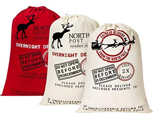 HBlife Personalized Santa Sack 27.6'x 19.7' Gift Bag for Christmas Cotton Santa Bag with Drawstring Xmas Present Bag - 3pc