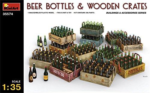 MiniArt- Accesorios para maquetas: Botellas de Cerveza y crates de Madera (35574)