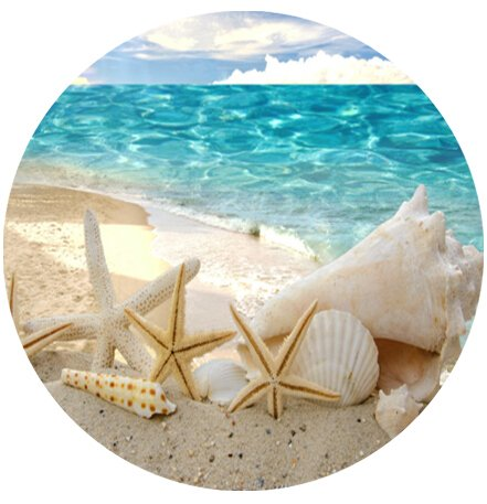 Beautiful beach seascape Computer Mouse Mat for Round Mouse Pad