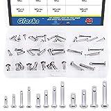 Glarks 44Pcs 12 Sizes 304 Stainless Steel Flat Head Single Hole Clevis Pins Assortment Kit
