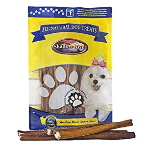 Shadow River Thick 12 Inch 100% Beef Bully Sticks for Medium to Large Dogs – Grass Fed Grain Free Long Lasting Chew Treats for Strong Chewers – Pack of 25
