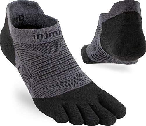 Calcetín tobillero Injinji Original Weight para hombre, con separación para dedos, para correr, hombre, negro