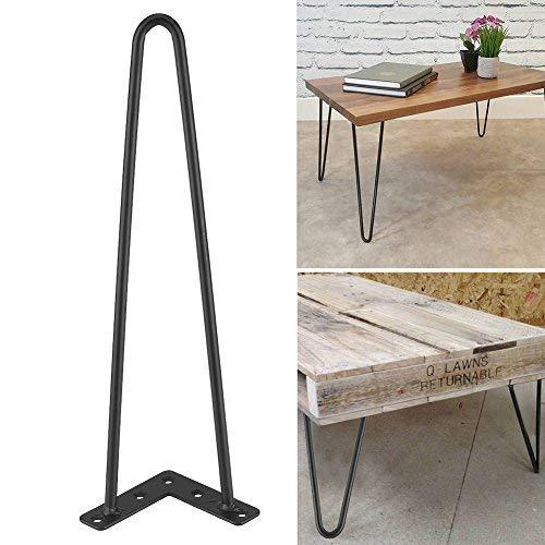 4 patas de mesa, horquillas, patas de hierro negro, estilo moderno (40,64 cm)