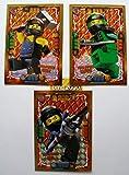 Lego Ninjago Serie 4 – 3 tarjetas de oro limitadas LE 2 Mega Power Cole LE 3 Mega Power Lloyd LE 4 Mega Power NYA + 1 pegatina dorada