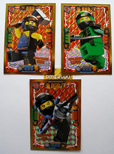 Lego Ninjago Serie 4 - 3 Limitierte Gold Karten Trading Card LE 2 Mega Power Cole LE 3 Mega Power Lloyd LE 4 Mega Power NYA + 1 Gold Sticker Aufkleber