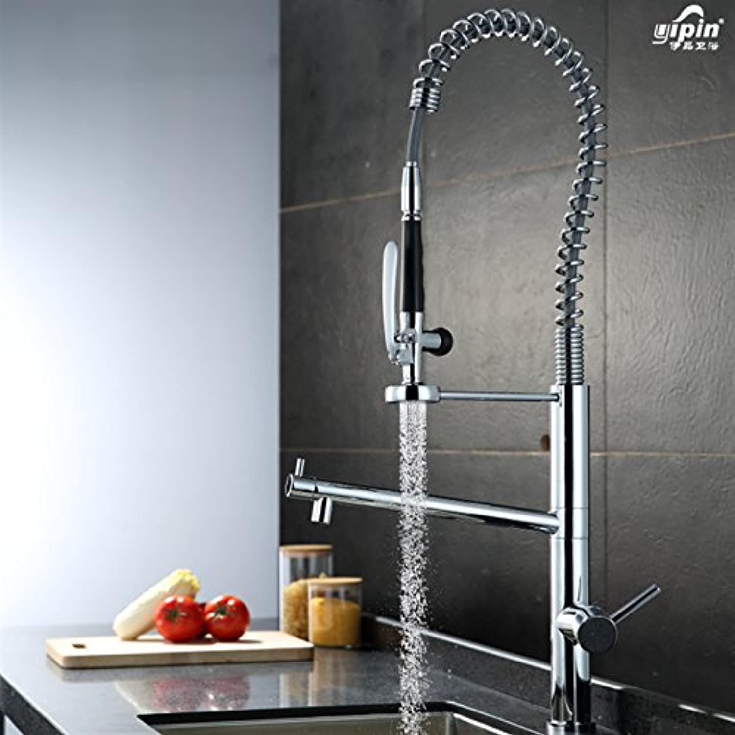 Commercial Single Lever Pull Down Kitchen Sink Faucet Brass Constructed Polished Full Copper Spring Single Hole Multi-Function Kitchen Faucet