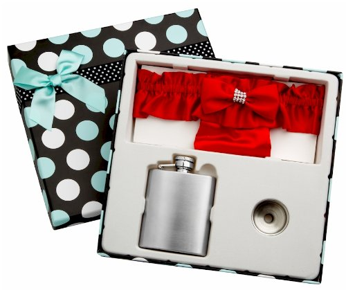 3 Piece Flask Set - Red Garter Belt, 3 oz Flask and Funnel - Front Engravable for Personalized Gift - Stainless Steel, Screw-On Cap, Leakproof - Gift Box Included