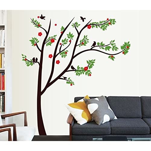 Oren Empower Spring Tree Decorative PVC Vinyl Large Wall Sticker (Finished Size on Wall - 115(w) x 130(h) cm)