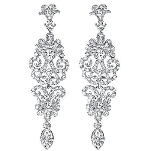 mecresh Silver Vintage Style Wedding Crystal Rhinestone Cluster Chandelier Hollow Dangle Earrings