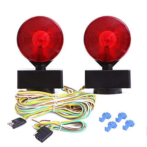 CZC AUTO 12V Two Sided Magnetic Towing Light Kit for Trailer RV Boat Truck - Magnetic Strength 55 Pounds