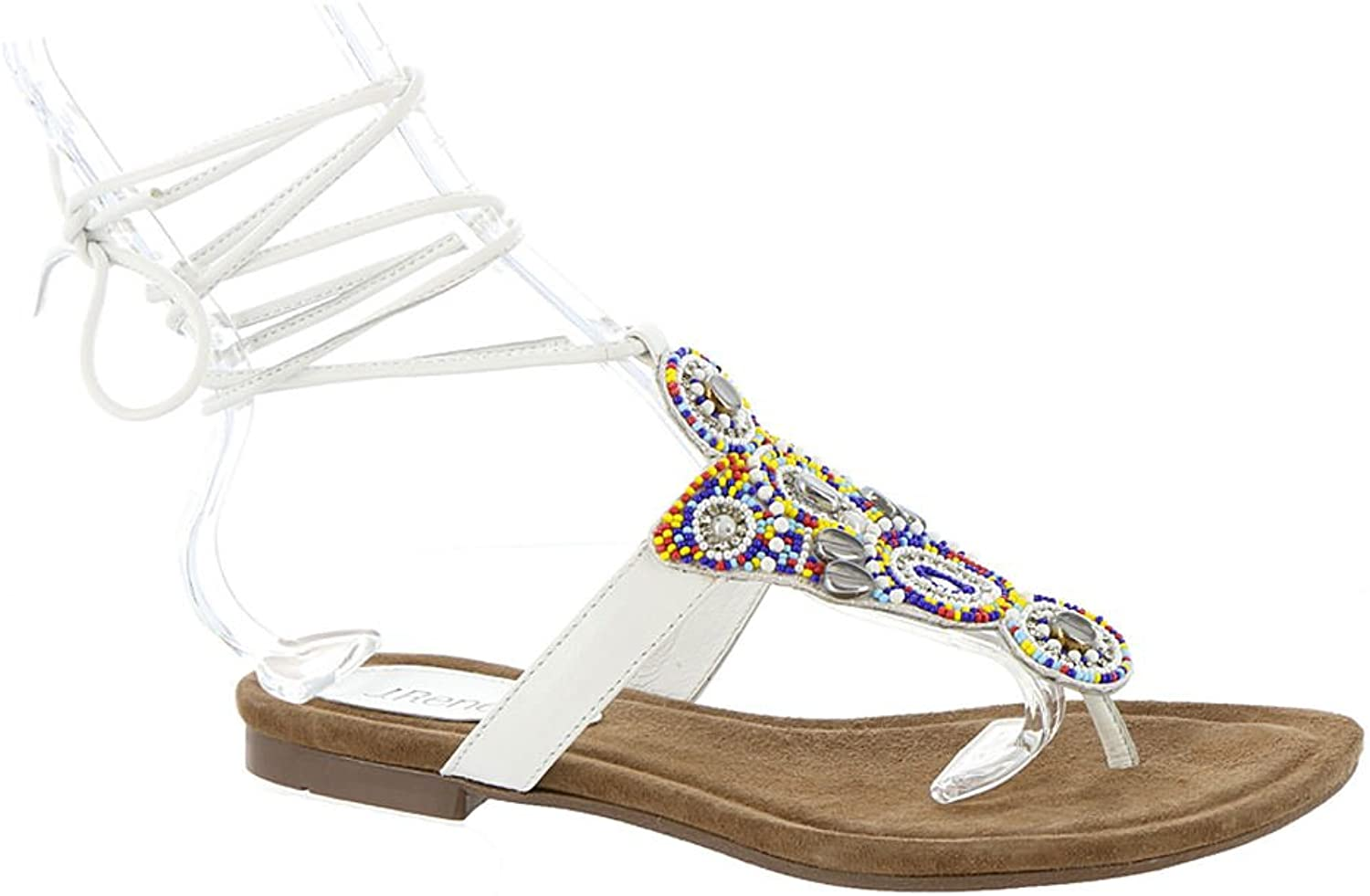 NOTFOUND Womens Lamarra Leather Open Toe Casual Strappy, Multi-White, Size 9.5