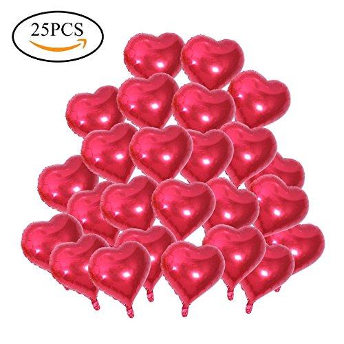 SAGESSE 25 x Globos Metalicos de Corazón Rojo Helio para Boda Fiesta Amor Globos de Corazón Rojo Helio con Cinta Boda Decoración, Fiesta, día de San Valentín, Aniversario