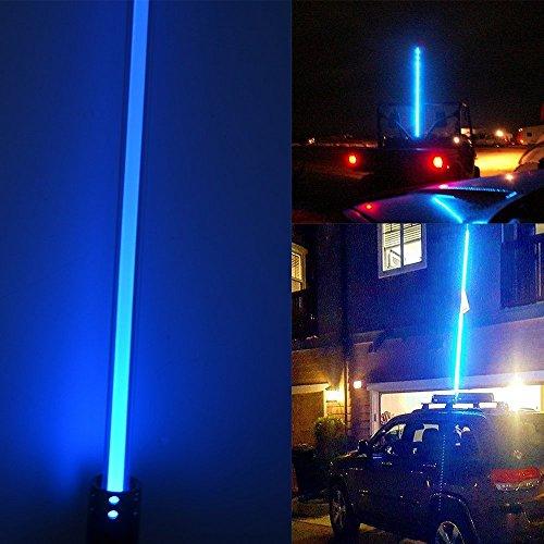 LED lumière d'antenne New Night Stalker fouet Led Beach Whips drapeau lumière 1.5 m Moto ATV UTV sable Dune drapeau LED Bar pour extérieur Moto hors route motoneige (Bleu)