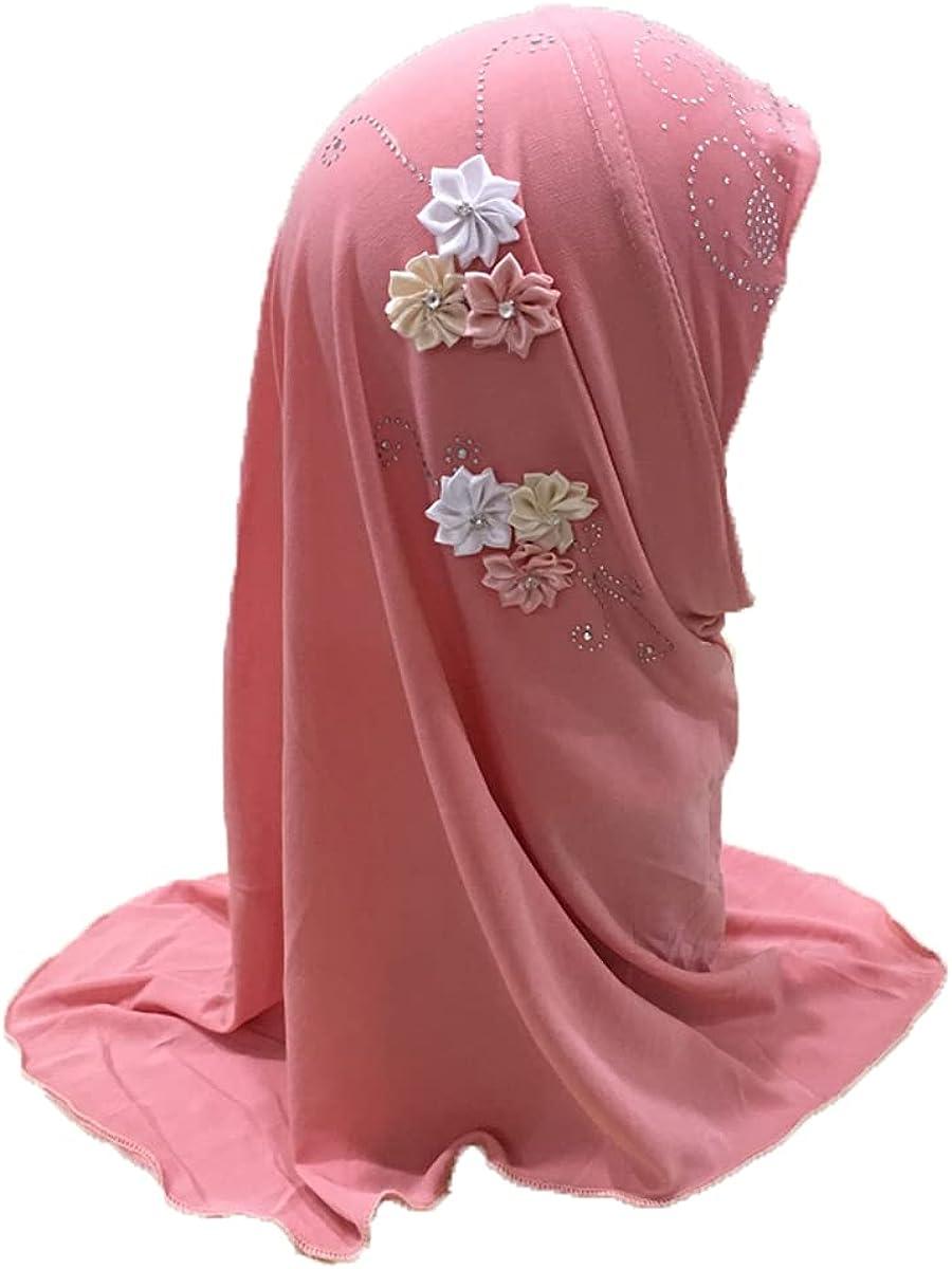 Girls Lovely Muslim Hijab with Flowers Anti-UV Islamic Head Scarf for 2-6 Years