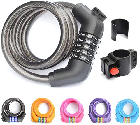 ZHEGE Bike Lock 5 Digit Combination Bicycle Lock with Mounting Bracket Self Coiling Resettable product image