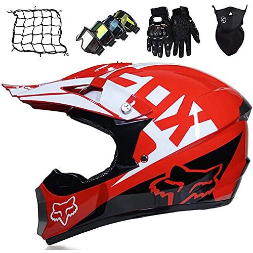 Casco de motocross para niños, casco de moto para scooter con visera solar, guantes, máscara para adultos, niño, moto, casco cruzado, casco integral MTB diseñado con Fox