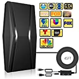 2021 Newest Amplified Digital TV Antenna, HDTV Digital Outdoor Indoor Portable TV Antenna Long 350 Miles, 360° Reception Antenna Support 4K 1080P Smart TVs and All Older TVs - 45ft Coaxial Cable