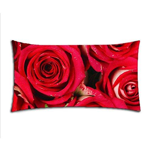 CustomizedHome Funda de Almohada de Algodón y poliéster con Cremallera para Cama de Matrimonio (20 x 36 cm), Diseño de Rosa roja Sentimental