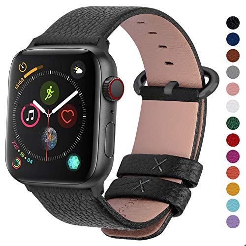 Fullmosa kompatibel mit Apple Watch Armband 42mm(Series4 44mm) für Damen und Herren, Lederarmband für iWatch Serie 5/4/3/2/1,Schwarz+graue Schnalle 42mm