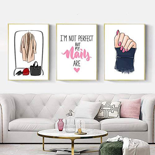 Mädchen Hand Wandkunst Fingernagel Leinwand Malerei Kleidung Zitate Drucke Und Poster 3 Stück Nordic Fashion Wandbilder Schlafzimmer Home Decor 14