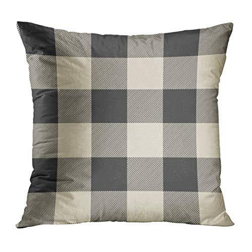 Throw Pillow Cover Cute Preppy Rustic Grey and Beige Buffalo Check Funda Almohada Elegante Decoración para el hogar Funda Almohada Cuadrada 18 '