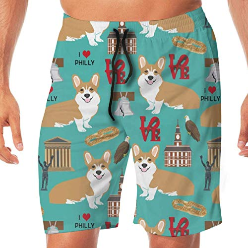 Corgi in Philadelphia Corgi Reisen USA Philly Cute Dogs Design Türkis Herren Badehose Beach Holiday Party Schnell trocknen mit Seitentaschen,L